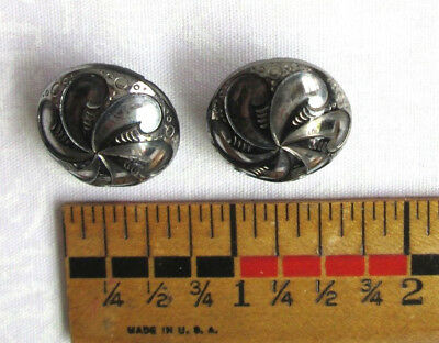 """2 Antique Round Black Glass & Silver Luster Art Deco Style Buttons 3/4"""""""