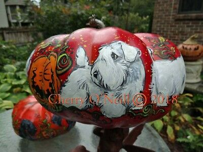 Sealyham Terrier ONE of a KIND Faux Halloween Pumpkin Hand Painted