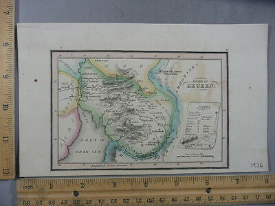 Rare Antique Orig VTG Leavitt Lord & Co. Gad Tribe Of Reuben Map Engraving Print