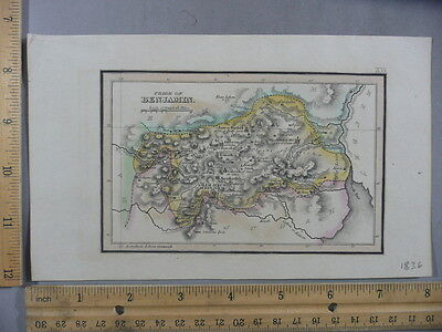 Rare Antique Orig VTG 1836 Leavitt Lord Co Tribe Of Benjamin Map Engraving Print