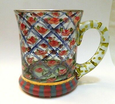 MacKenzie-Childs Hand Painted Rose Arbor Glass Mug - Exc Cond - hard to find