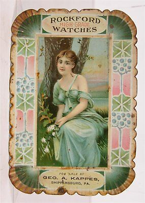 1910s ROCKFORD WATCH COMPANY TIN LITHOGRAPH ADVERTISING TIP TRAY PRETTY GIRL