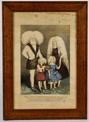ca1860 P T BARNUM CIRCUS SIDE SHOW ALBINO FAMILY LITHOGRAPH By CURRIER & IVES