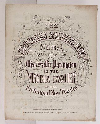 1863 Confederate Imprint Civil War Southern Soldier Boy Military Sheet Music