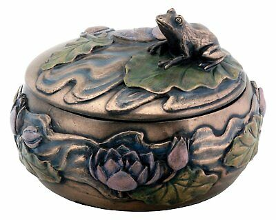 Art Nouveau Frog Sitting on Lily Pad Jewelry Trinket Box Container Decoration