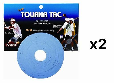 Tourna Tac Tennis Racquet Over Grip 30 XL Blue Overgrips Tacky Feel (2-Pack)