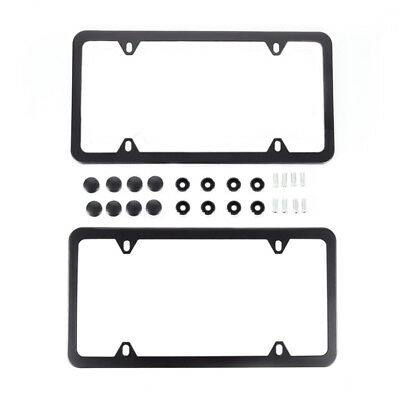 2x Black Aluminum Alloy License Plate Frame Tag Cover Screws for US Car SUV AU.