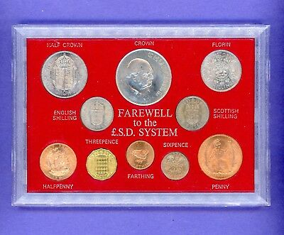 Great Britain Farewell To F.s.d. System 10 Coins Set In Hard Plastic Case