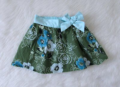 Girls Old Navy Green Aqua Floral Elastic Waist Tulle Lined Skirt SZ 12-18 Months