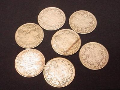 7 Canada 1902 - 1934 George V 25 Cent Silver Coins