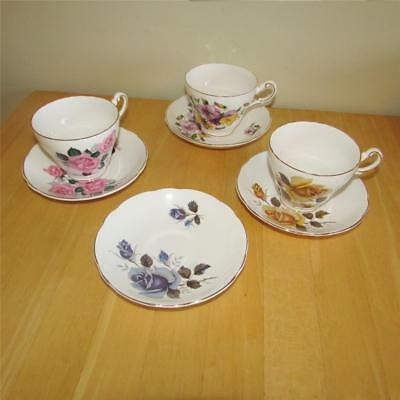 Regency English Bone China Set of 3 Tea Cups with Saucers ... extra saucer
