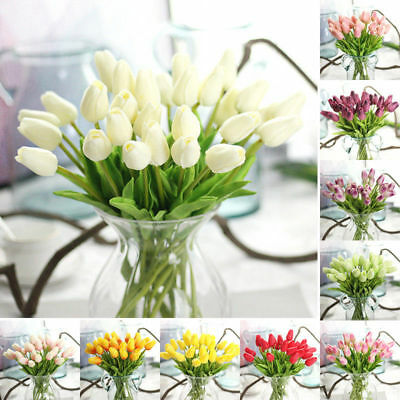 10x Artifical Real Touch Tulip PU Flower Bouquet Wedding Party Bridal Home Decor