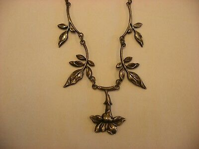 Antique Vtg Victorian Art Nouveau Silver Necklace