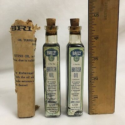 3 Vtg James Baily & Son Baltimore Md British Oil Liniment Bottle & Contents