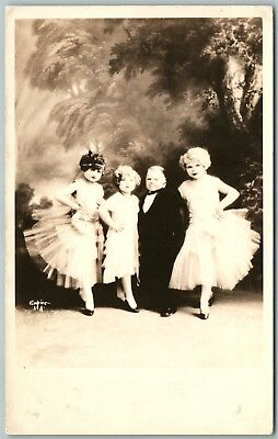 Midgets Lilliputians Dancing Los Angeles Ca Antique Real Photo Postcard Rppc