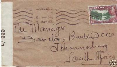 1943 WII Ceylon Army Examiner L / 555 to South Africa