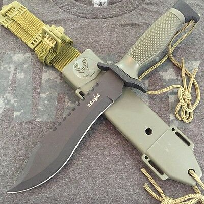 "12"" TACTICAL BOWIE SURVIVAL HUNTING KNIFE SHEATH MILITARY Combat Fixed Blade -F"