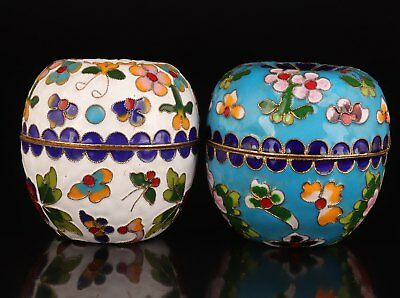 2 Cloisonne Hand-Carved Flower Butterfly Statue Jewelry Box Gift