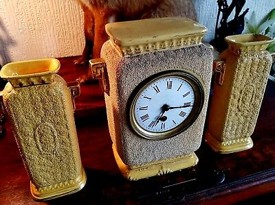 Very Unusual Antique - Textured Ceramic Art Deco Mantel Clock With garniture !