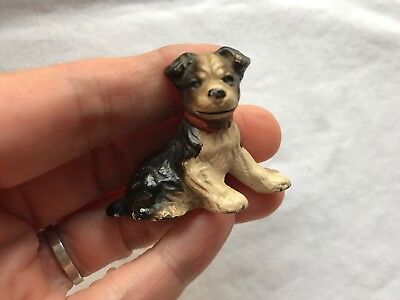 Vtg Hubley Cast Iron Dog Place Card Holder Paperweight Jack Boston Terrier
