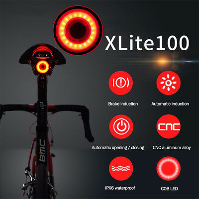 XLite100 Waterproof Bicycle Smart Brake Light LED USB Bike Rear Tail Light HOT K