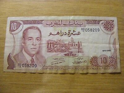 A 1970 Morocco 10 Dirhams Banknote - Used folds and dirty marks