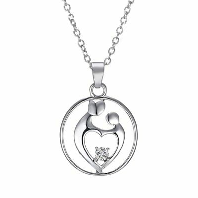 Engraved Mom Children Silver Plated Heart Rhinestone Pendant Necklace Jewelry