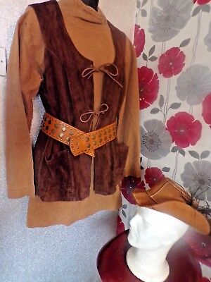 Quality Hand Finished Peasant Style Suede & Woven Cotton 4 Piece Outfit Size M/l