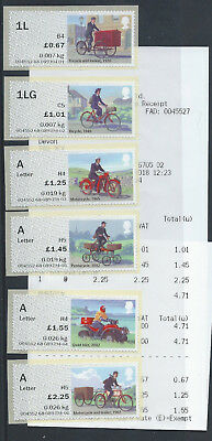 """POST & GO:2018""""ROYAL MAIL HERITAGE"""" 'MAIL BY BIKE' (OV) OPEN VALUES SET of 6 MNH"""