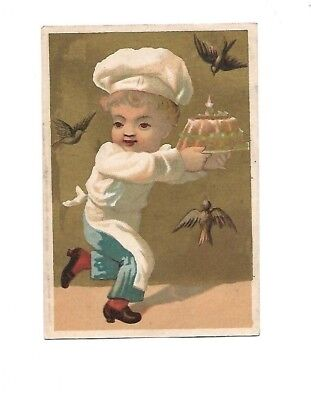Chef Boy w Cake Being Chased by Birds No Advertising Vict Card c1880s