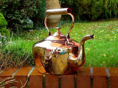 HUGE VICTORIAN ANTIQUE COPPER  KITCHEN KETTLE with DOVETAILED JOINTS