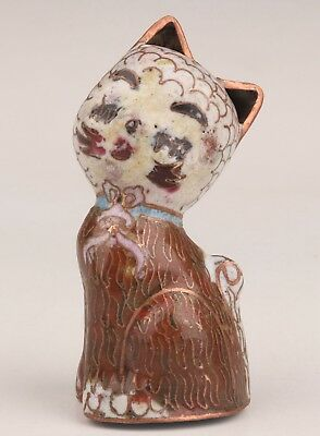 Old Chinese Hand-Carved Cloisonne Cat Statue Gift Collection Rare Figurine