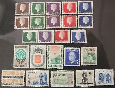 Canada 1961 & 1962 Complete Year Sets, MNH OG, Cameo Tags & Coils Included