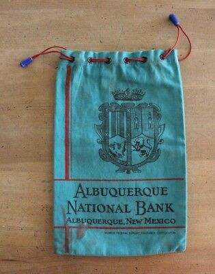 Vintage Albuquerque National Bank New Mexico Turquoise Canvas Draw String Bag