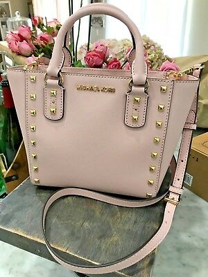 19867a61143a Michael Kors Sandrine Stud Mini Top Zip Tote / Crossbody Bag in Blossom Msrp  288