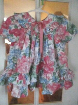 vintage  2T girls  FLORAL ,RUFFLED DRESS