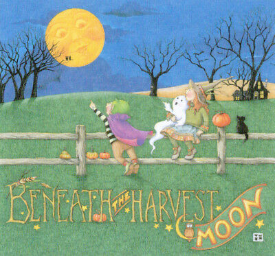 BENEATH HARVEST MOON Witch-Handcrafted Halloween Magnet-w/Mary Engelbreit art