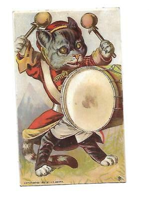 Drummer Black Cat in Band Uniform No Advertising Vict Card c1880s