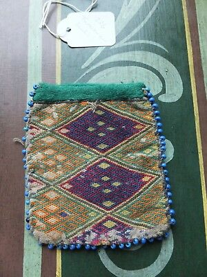World textiles: Antique embroidered Turkmen beaded pouch Afghanistan ? Buchi? [B