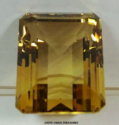 CITRINE EMERALD CUT LOOSE ROCK QUARTZ 24.63x19.60x12.34mm. 42.97ct CUT IN JAPAN
