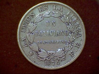 Bolivia - 1 Boliviano - 1874 - Silver AG -  Same S/H for ANY q coins