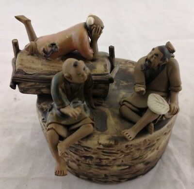 """UNBRANDED Vintage 3 Chinese Men Figurine 3.5"""" Dia. x 3"""" H - Excellent Condition"""