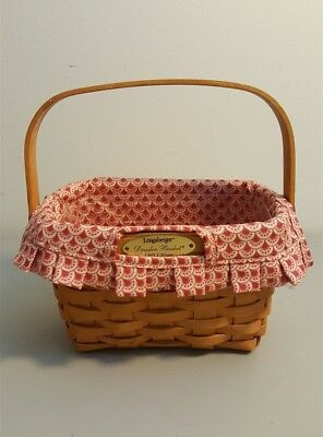 Longaberger 1999 Edition Dresden Basket With Swing Handle Fabric Liner Protector