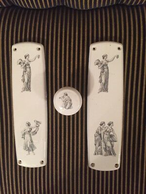Vintage Door Knob And Two Finger Plated - Ceramic Greek Or Roman Ladies Pictures