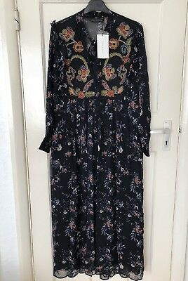 ZARA NEW SS18 LONG EMBROIDERED AND PRINTED DRESS BLACK SIZE M Ref. 7521/064 BNWT