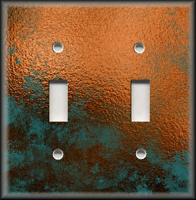 Light Switch Plate Cover Image Of Aged Copper Design Patina Rustic Home Decor 04
