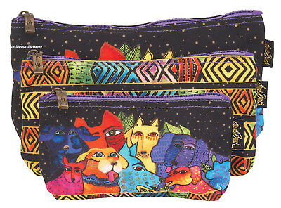 Laurel Burch Dog Canine Clan Stacked Makeup Bag 3pc Organizer Craft Meds Nw 2019