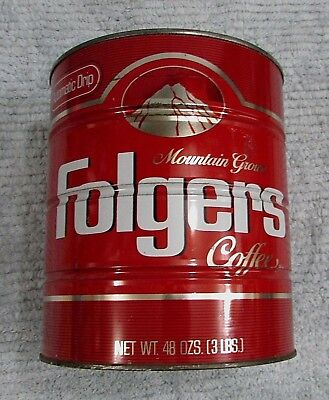 Old Empty Automatic Drip Folgers 3 lb Coffee Mountain Grown Tin Red Can FREE SH