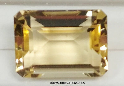 CITRINE EMERALD CUT LOOSE ROCK QUARTZ 19.95x14.90x10.09mm. 22.42ct. CUT IN JAPAN