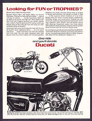 "1965 Ducati 250 & 160 Monza Motorcycle photo ""Looking for Fun?"" vintage print ad"
